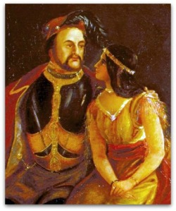 painting of Pocahontas and John Rolfe, by J.W. Glass