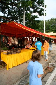 Hari Raya Aidilfitri:  outlying suburb of KL far from the Tourist Zone.  These stalls offer traditional foods for  to locals and a wealth of boasting opportunities for the lucky expat passerby.