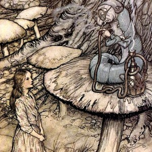 """But I'm not used to it!"" pleaded poor Alice in a piteous tone. And she thought of herself, ""I wish the creatures wouldn't be so easily offended!"" ""You'll get used to it in time,"" said the Caterpillar; and it put the hookah into its mouth and began smoking again. Photo credit: Arthur Rackham [Public domain], via Wikimedia Commons."