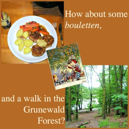 Bouletten and a walk. Photo credits: Bouletten mit Senf, by  Michael Fielitz (CC-BY SA 2.0); Grunewalk Forest by Paul Scraton.