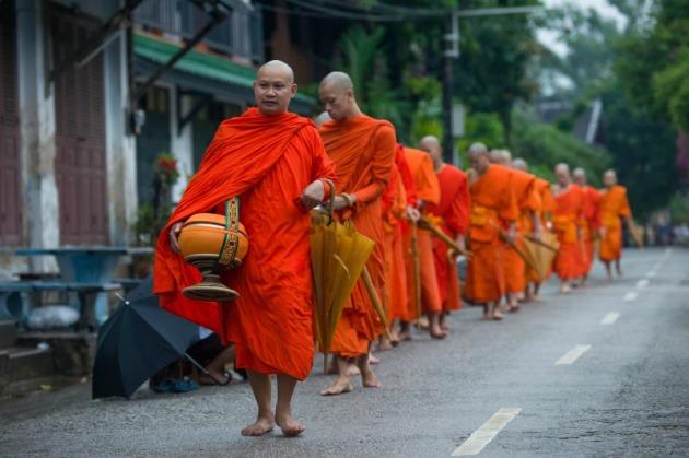 Laos monks alms
