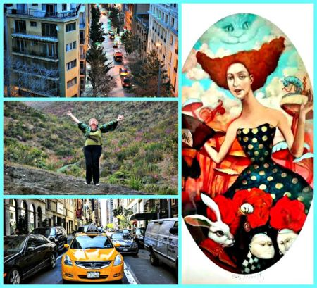 Photo credits: Santiago (top) and New York City via Pixabay; Sally in Chile & Sally's Alice in Wonderland  painting by Russian artist. (supplied).