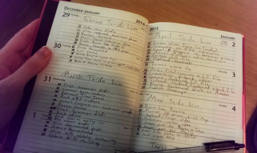 Intense! Shannon's to-do list, displaying just a few months of her year of full-time writing.