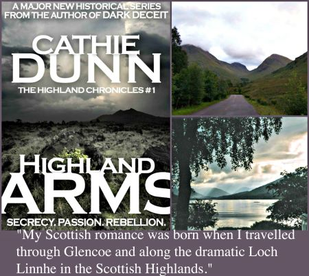 Photo credits (clockwise from top left): Highland Arms cover art; A view of Glencoe, by Ronhjones via Wikimedia Commons[https://commons.wikimedia.org/wiki/File:Gleann_comhainn.jpg] (CC BY-SA 3.0) [http://creativecommons.org/licenses/by-sa/3.0/]. Loch Linnhe, by Moralist via Wikimedia Commons[https://commons.wikimedia.org/wiki/File:Vy_i_skottland.JPG](CC BY-SA 3.0) [http://creativecommons.org/licenses/by-sa/3.0/].