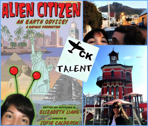 TCK Talent columnist Lisa and her husband (and techie), Dan, head to Cape Town. Photo credits: (from left) Alien Citizen poster; Lisa and Dan in front of Little Theatre on University of Cape Town campus (supplied, by Daniel Lawrence); and view of Table Mountain through bus window (supplied, by Lisa Liang).