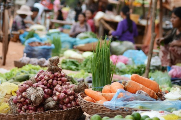 The market in Roulos, Cambodia. Photo credit: Angela Corrias (supplied).
