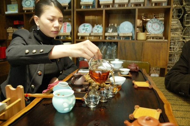 Sampling Chinese tea culture in Shanghai. Photo credit: Angela Corrias (supplied).