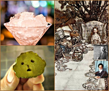 Language might be a bit of a problem at Rosie Milne's tea party. Photo credits (clockwise from top left): Ice cocktail[https://pixabay.com/en/ice-cocktail-glass-drink-alcohol-681547/] via Pixabay; Alice's Adventures in Wonderland (Illustrator: Rackham, 1907) The Mad Tea-party[https://www.flickr.com/photos/43021516@N06/4382428537/], by Special Collections Toronto via Flickr (CC BY-SA 2.0)[https://creativecommons.org/licenses/by-sa/2.0/]; Sad pickle[https://www.flickr.com/photos/healthserviceglasses/3382360977/], by John Bell via Flickr (CC BY-SA 2.0)[https://creativecommons.org/licenses/by-sa/2.0/]. Insets: Albert Einstein during a lecture in Vienna in 1921[https://commons.wikimedia.org/wiki/File:Albert_Einstein_1921_by_F_Schmutzer.jpg]; Ayatollah Khomeini[https://commons.wikimedia.org/wiki/File:Mehdi_Bazargan_Ayatollah_Khomeini.jpg], by Alain DeJean—both images via Wikimedia Commons (CC0 1.0)[https://creativecommons.org/publicdomain/zero/1.0/deed.en].