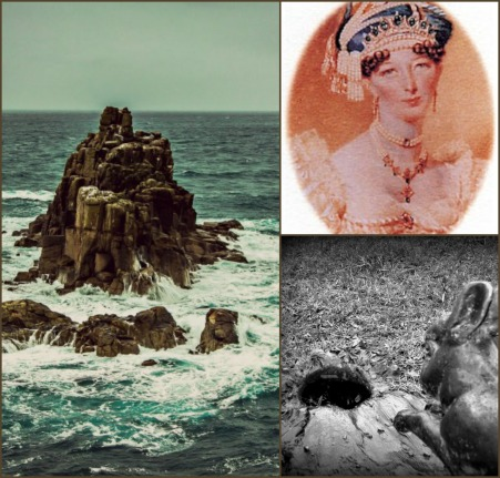Photo credits: Land's End, Cornwall[https://pixabay.com/en/ocean-rock-waves-wind-stormy-826155/] via Pixabay; Sophia Raffles portrait; Down the rabbit hole by Colin Smith[] via the Geograph Britain and Ireland Project (CC BY-SA 2.0) [http://creativecommons.org/licenses/by-sa/2.0/].