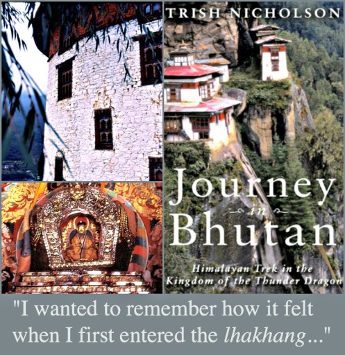 Photo credits: (clockwise from top left) Rinpung Dzong, a large dzong (Buddhist monastery and fortress) found in Paro District, Bhutan; book cover art; ancient religious relics inside the lhakhang (all photos supplied by Trish Nicholson).