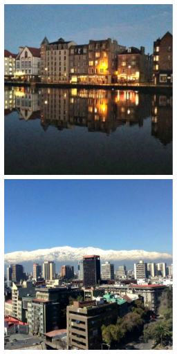 APARTMENTS WITH A VIEW—of the River of Leith (Edinburgh, top) and the Andes (Santiago). Photos supplied.