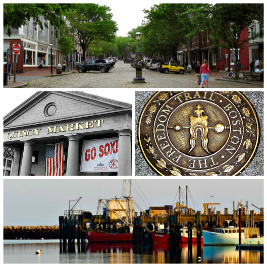 Boston and beach collage